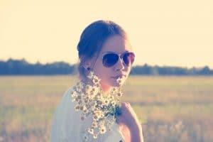 sunglasses love woman flowers