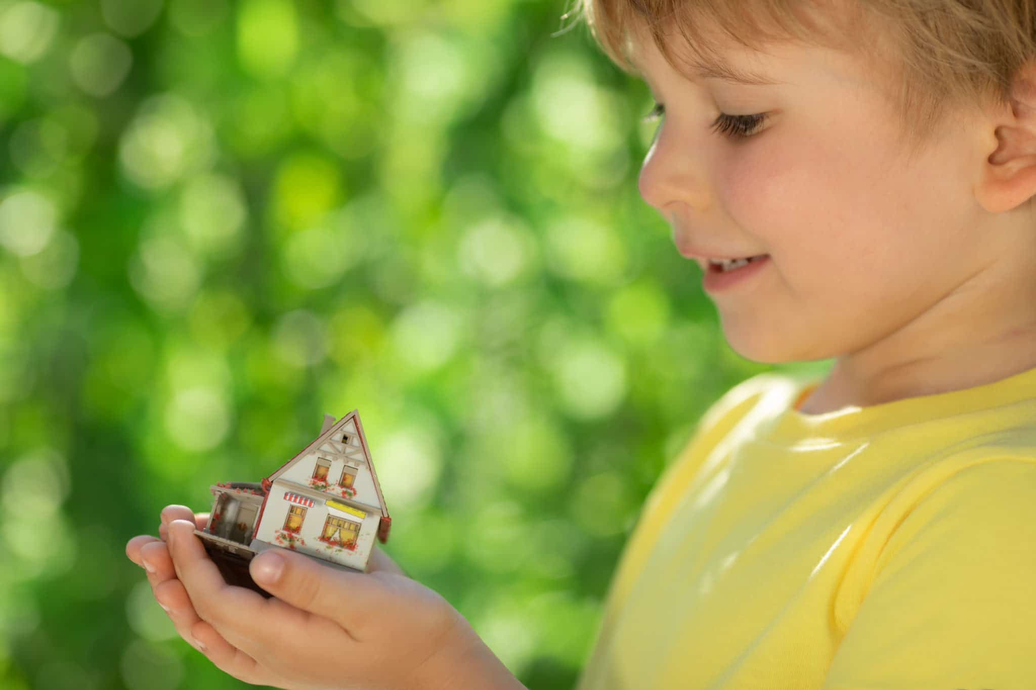 eco house in childrens hands NAW5CGB scaled