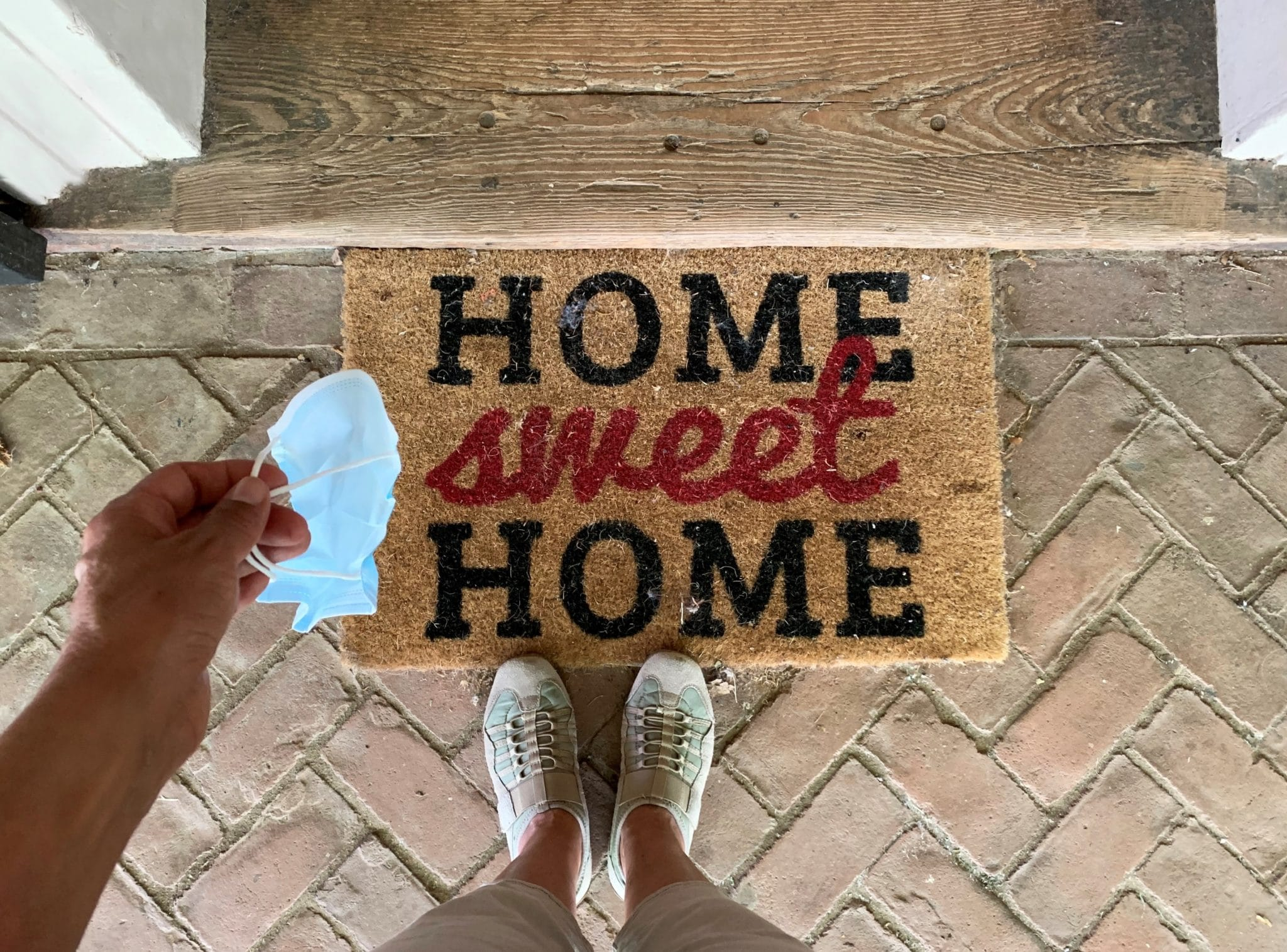 overhead of home sweet home entrance doormat a wom KGB4288 scaled